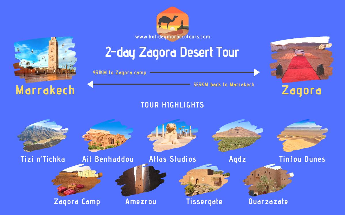 Map of the 2-day Zagora desert tour in Morocco