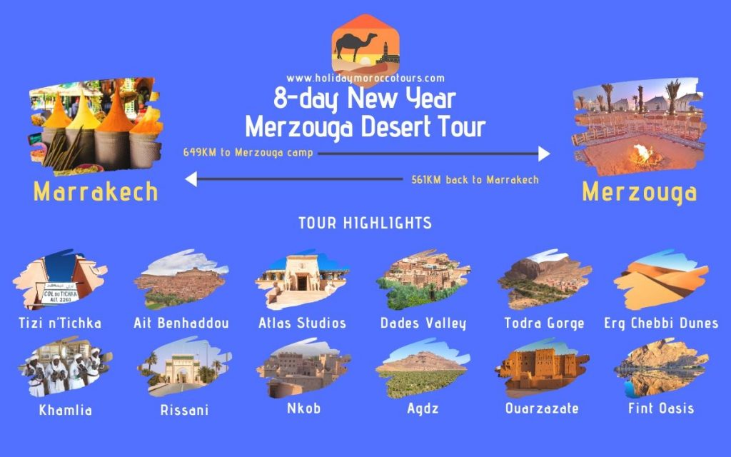 Map of the 8-day New Year Merzouga desert tour