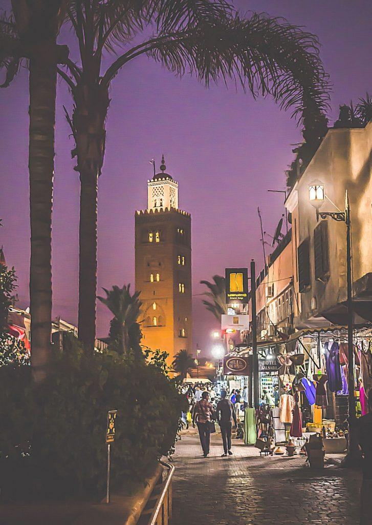 Marrakech street by night
